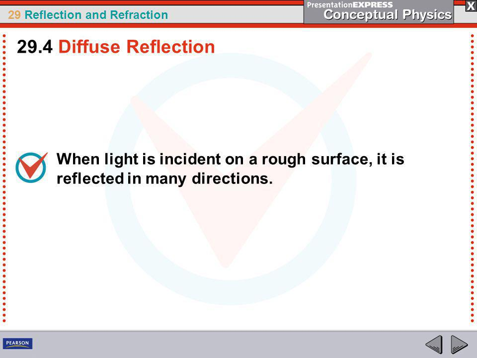 29 Reflection and Refraction When light is incident on a rough surface, it is reflected in many directions.