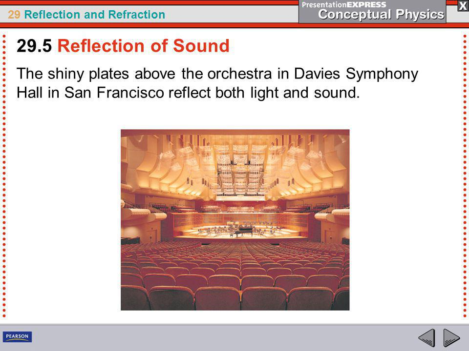 29 Reflection and Refraction The shiny plates above the orchestra in Davies Symphony Hall in San Francisco reflect both light and sound.