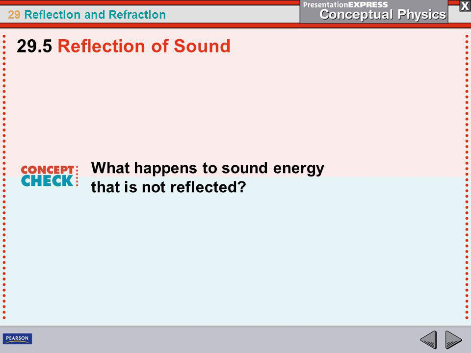 29 Reflection and Refraction What happens to sound energy that is not reflected.