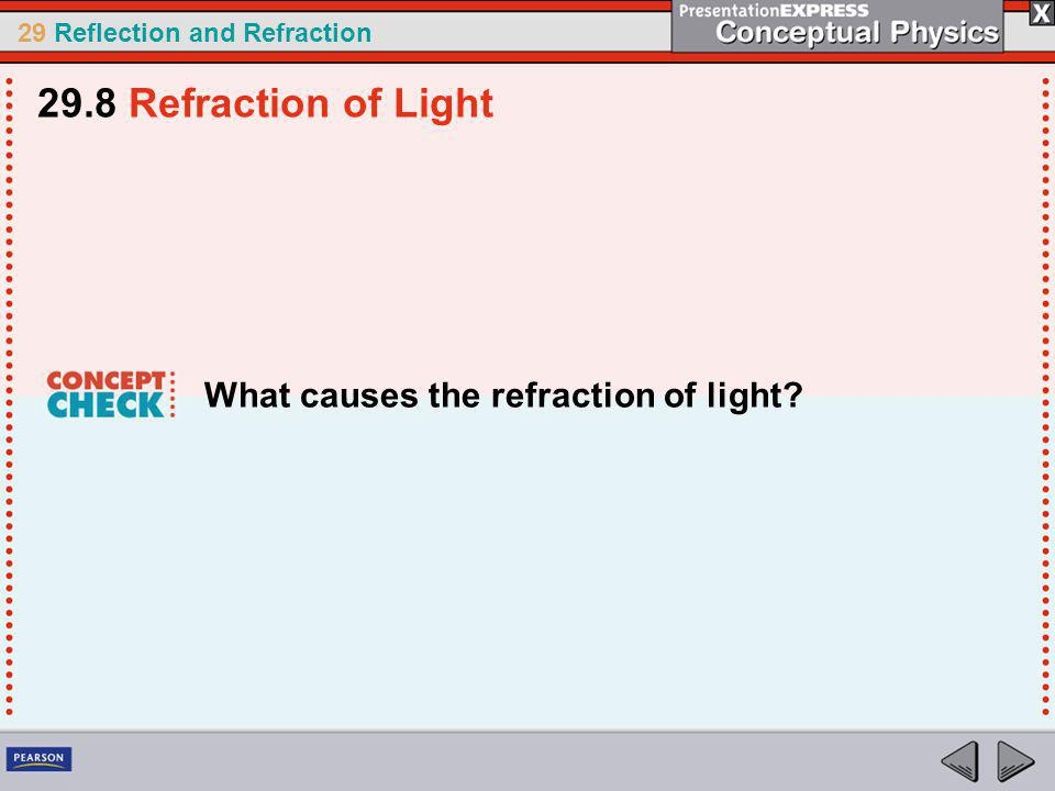 29 Reflection and Refraction What causes the refraction of light? 29.8 Refraction of Light