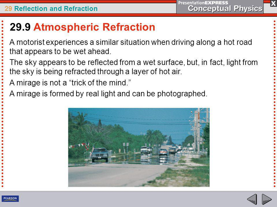 29 Reflection and Refraction A motorist experiences a similar situation when driving along a hot road that appears to be wet ahead.