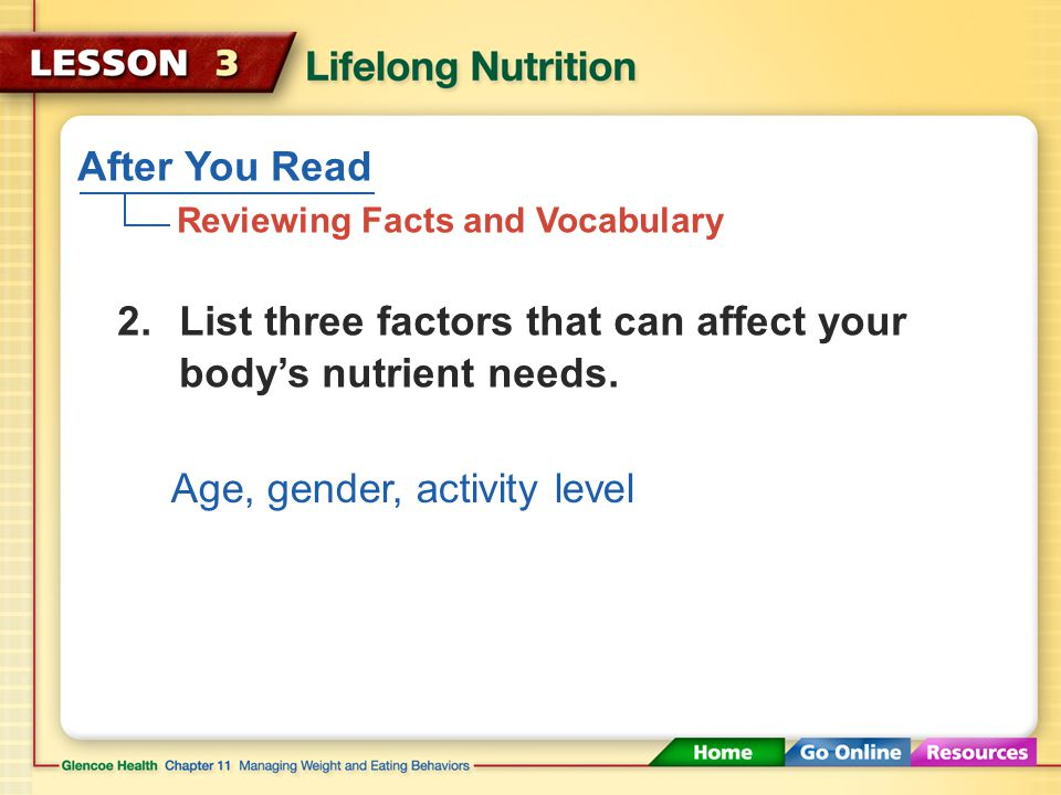 After You Read Reviewing Facts and Vocabulary Dietary supplements are products that supply one or more nutrients as a supplement to, not a substitute