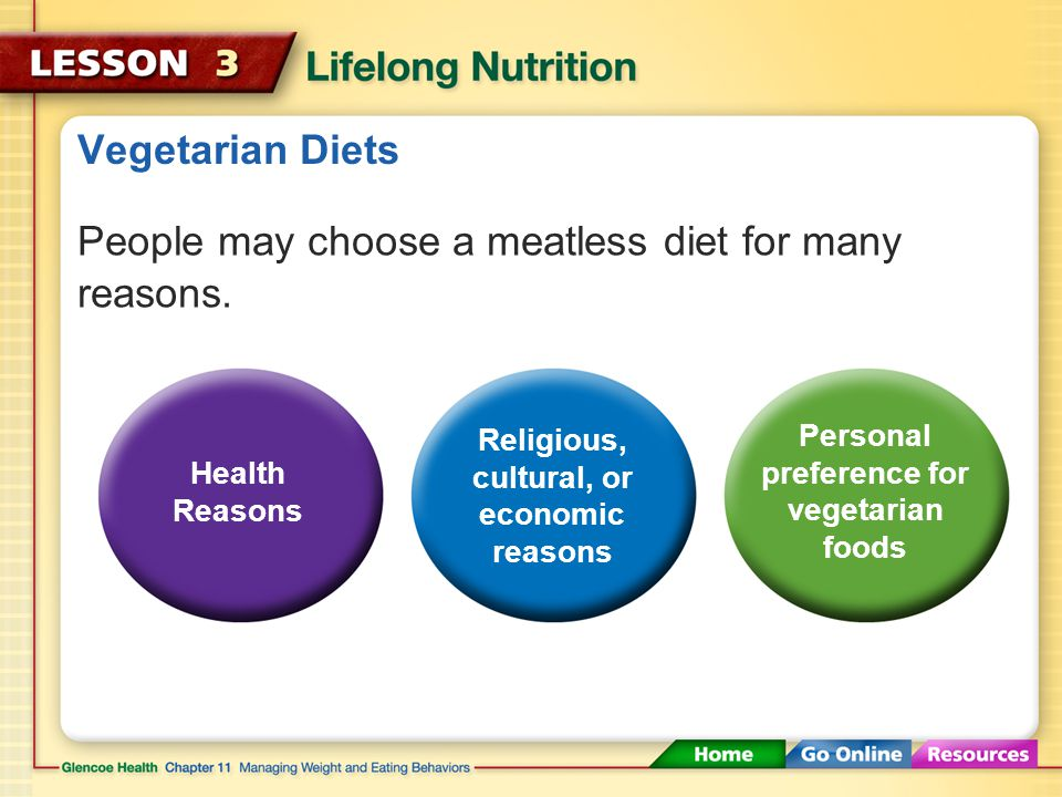 Vegetarian Diets People may choose a meatless diet for many reasons.