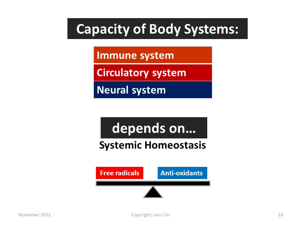 Capacity of Body Systems: Immune system Circulatory system Neural system depends on… Systemic Homeostasis Free radicalsAnti-oxidants November 201110Copyright: Lew Lim