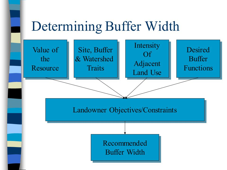 Determining Buffer Width Value of the Resource Value of the Resource Site, Buffer & Watershed Traits Site, Buffer & Watershed Traits Intensity Of Adjacent Land Use Intensity Of Adjacent Land Use Desired Buffer Functions Desired Buffer Functions Landowner Objectives/Constraints Recommended Buffer Width Recommended Buffer Width