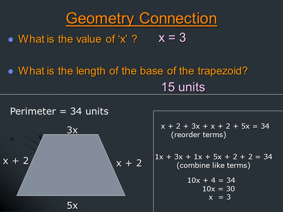 Geometry Connection What is the value of 'x' . What is the value of 'x' .