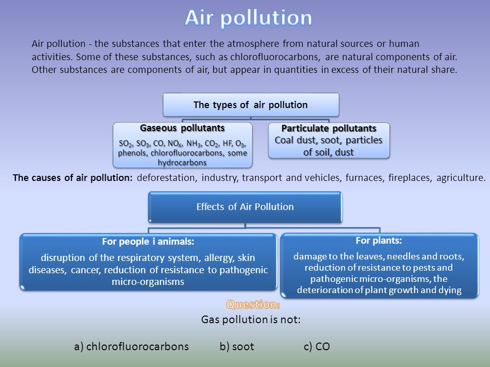 An example of industrial pollution is not: a) saltb) wastec) CO 2 Pollution of soils - are chemicals found in soils in an amount exceeding its natural level.