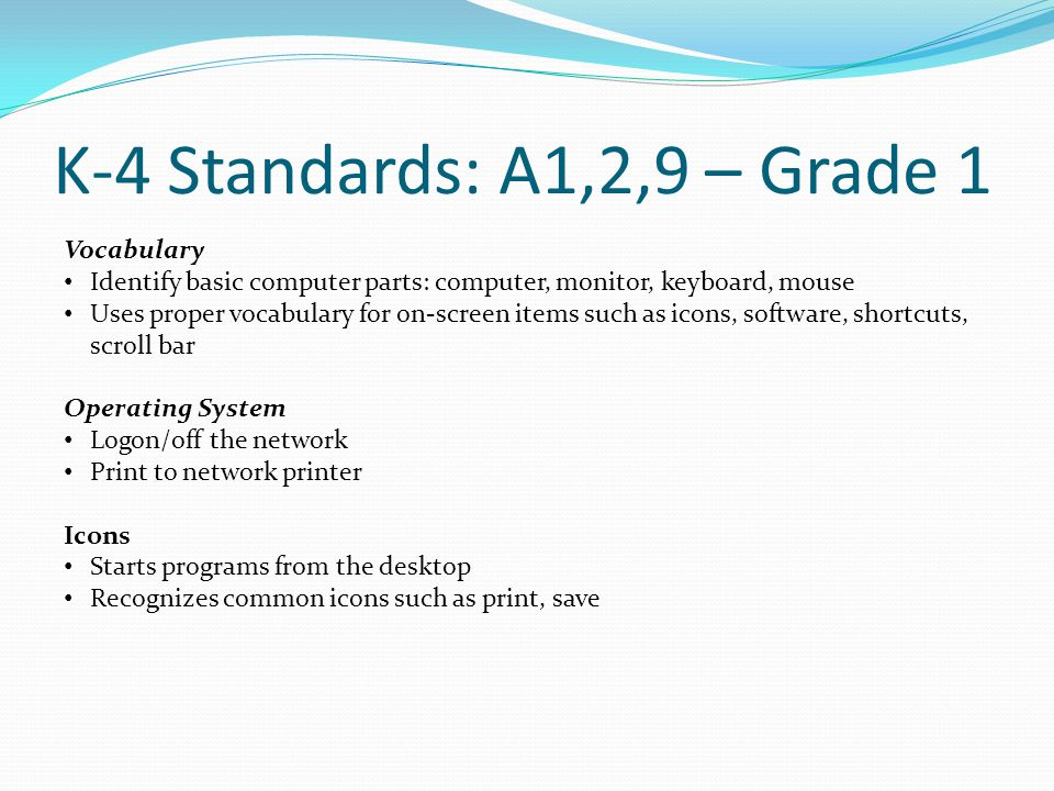 K-4 Standards: A1,2,9 – Grade 1 Vocabulary Identify basic computer parts: computer, monitor, keyboard, mouse Uses proper vocabulary for on-screen items such as icons, software, shortcuts, scroll bar Operating System Logon/off the network Print to network printer Icons Starts programs from the desktop Recognizes common icons such as print, save