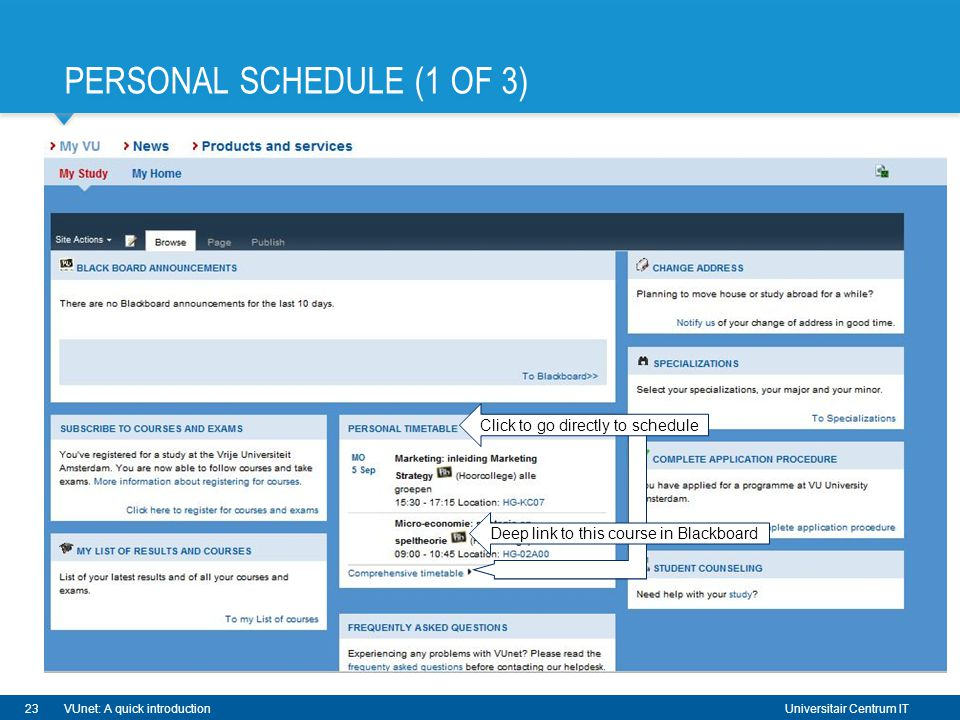Universitair Centrum IT PERSONAL SCHEDULE (1 OF 3) 23VUnet: A quick introduction Click to go directly to schedule Deep link to this course in Blackboard