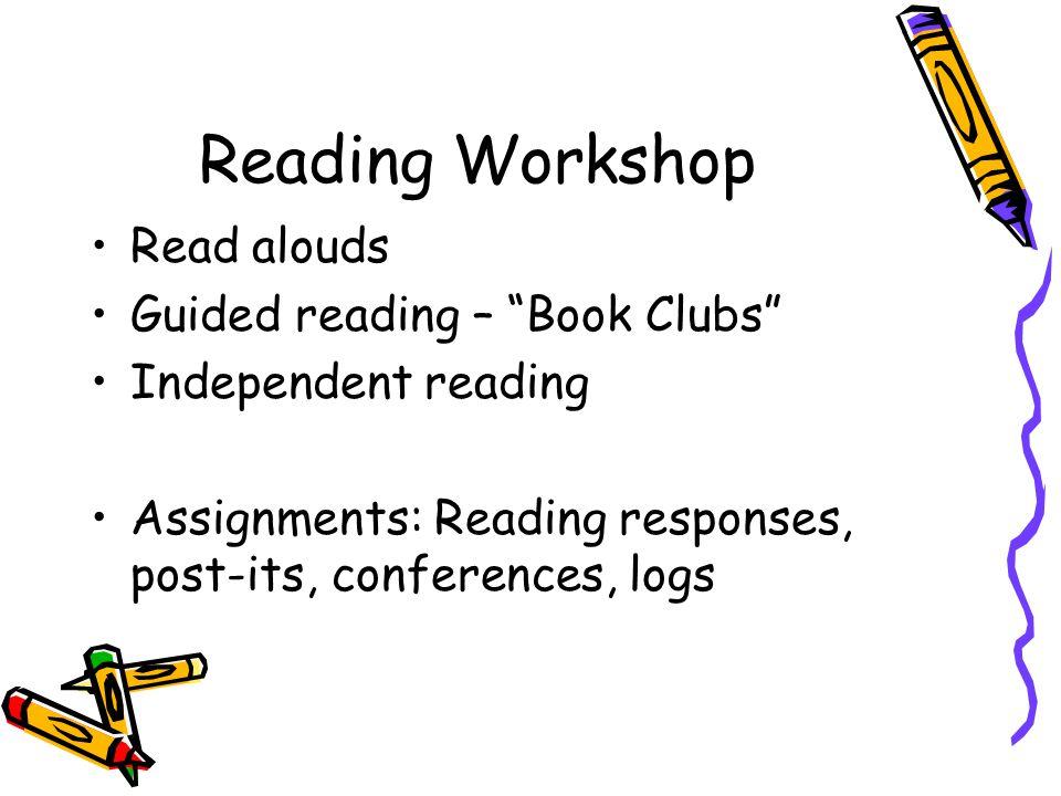 Reading Workshop Homework – 20% Quizzes – 25% Class work/Projects – 55%