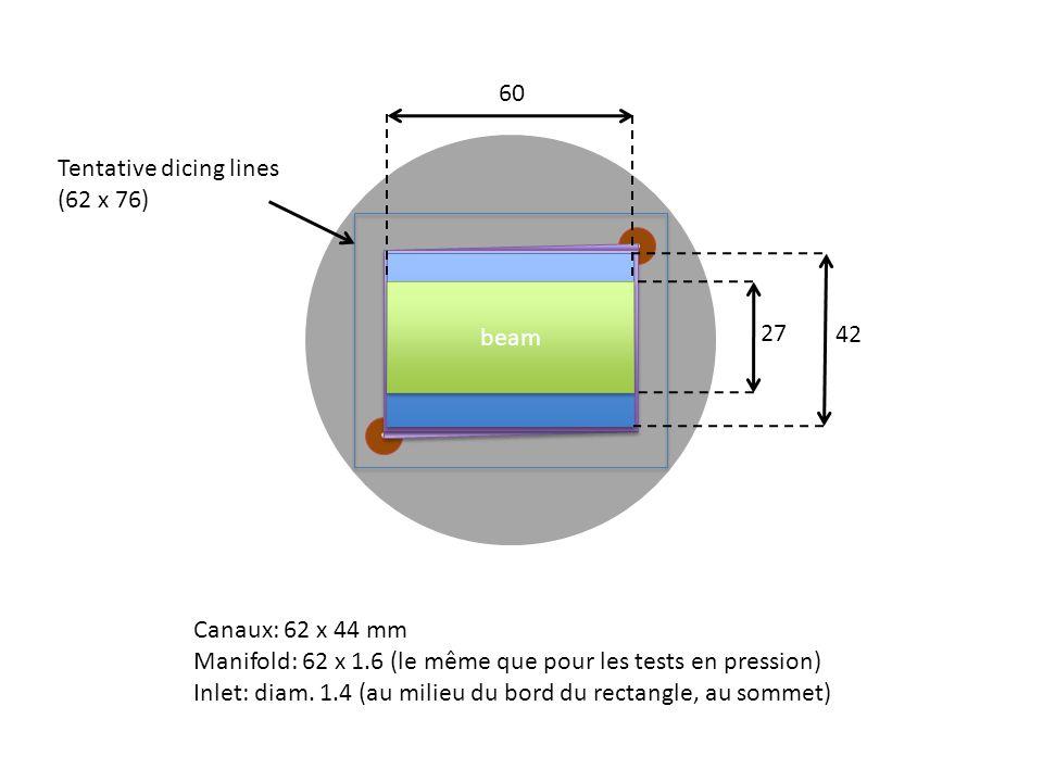 Canaux: 62 x 44 mm Manifold: 62 x 1.6 (le même que pour les tests en pression) Inlet: diam. 1.4 (au milieu du bord du rectangle, au sommet) Sensor + R