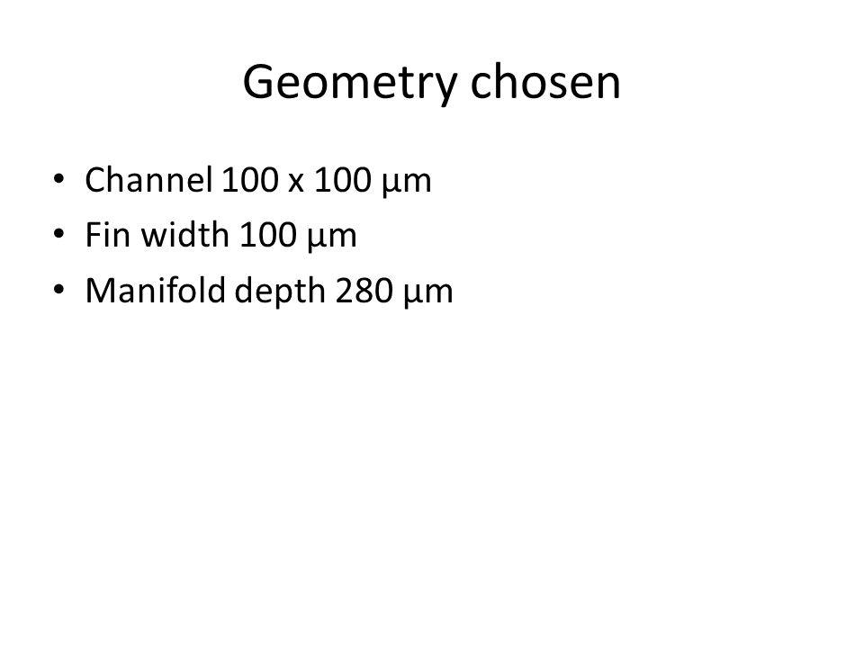 Geometry chosen Channel 100 x 100 µm Fin width 100 µm Manifold depth 280 µm