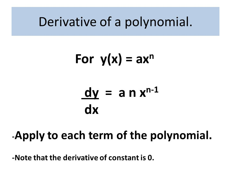How is derivative used in physics?