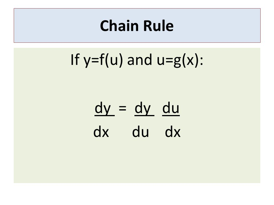 Example of Chain Rule Differentiate: F(x)= (x 2 + 1) 3 Ans:F'(x)= 6(x 2 +1) 2 x