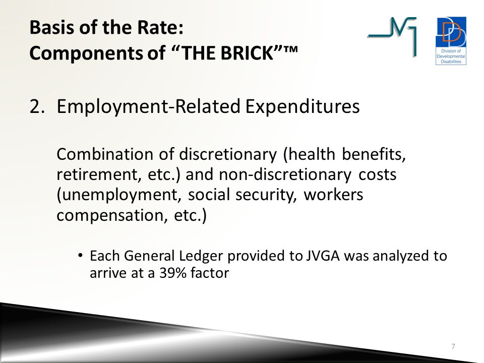 Basis of the Rate: Components of THE BRICK ™ 3.Program Support Expenditures needed to support consumers that are not assignable to a single consumer (supplies, supervision, equipment, training) These percentages vary by service Acuity differentiated rates may have higher Program Support percentages due to the increased need for staff supervision Training & staff recruitment costs were included in this component based on Committee recommendations (as opposed to G/A) 8