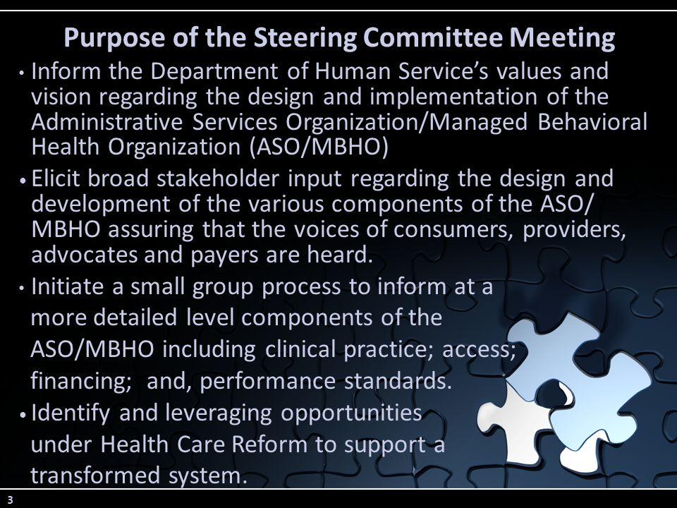 3 Purpose of the Steering Committee Meeting Inform the Department of Human Service's values and vision regarding the design and implementation of the Administrative Services Organization/Managed Behavioral Health Organization (ASO/MBHO) Elicit broad stakeholder input regarding the design and development of the various components of the ASO/ MBHO assuring that the voices of consumers, providers, advocates and payers are heard.
