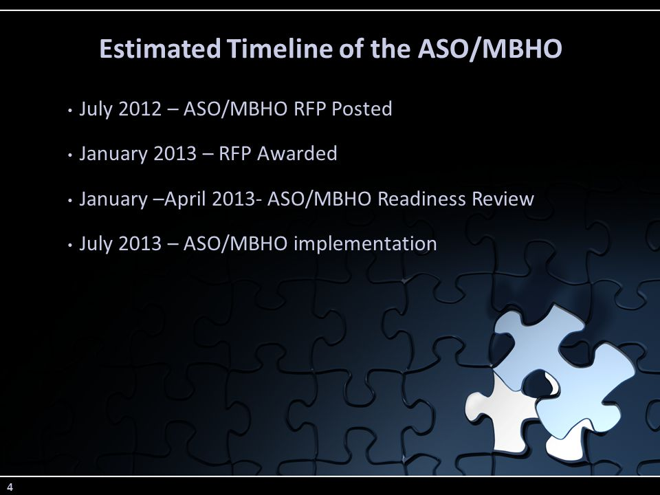 4 Estimated Timeline of the ASO/MBHO July 2012 – ASO/MBHO RFP Posted January 2013 – RFP Awarded January –April 2013- ASO/MBHO Readiness Review July 2013 – ASO/MBHO implementation