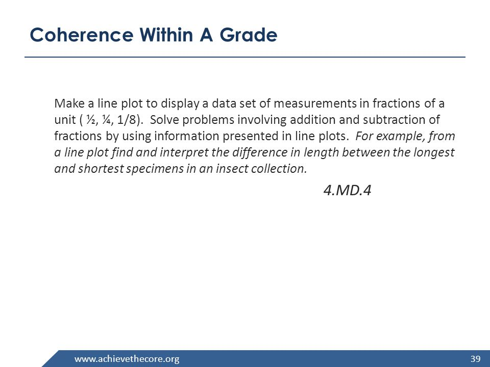 www.achievethecore.org Coherence Within A Grade Make a line plot to display a data set of measurements in fractions of a unit ( ½, ¼, 1/8).