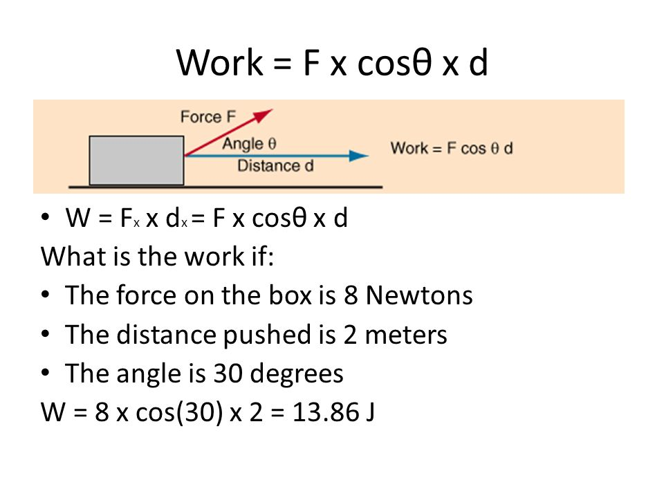 Work = F x cosθ x d W = F x x d x = F x cosθ x d What is the work if: The force on the box is 8 Newtons The distance pushed is 2 meters The angle is 3