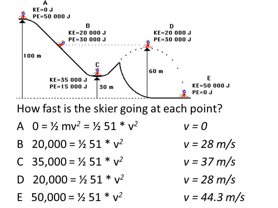 A 0 = ½ mv 2 = ½ 51 * v 2 v = 0 B 20,000 = ½ 51 * v 2 v = 28 m/s C 35,000 = ½ 51 * v 2 v = 37 m/s D 20,000 = ½ 51 * v 2 v = 28 m/s E 50,000 = ½ 51 * v