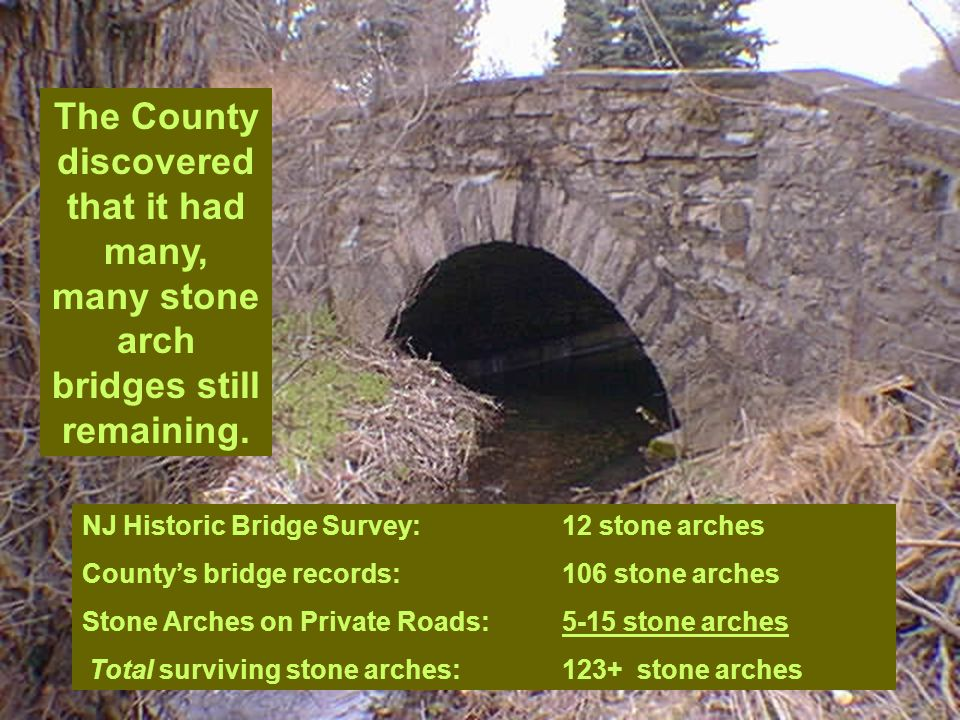 NJ Historic Bridge Survey:12 stone arches County's bridge records:106 stone arches Stone Arches on Private Roads:5-15 stone arches Total surviving sto