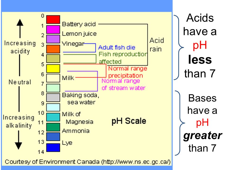 Acids have a pH less than 7 Bases have a pH greater than 7