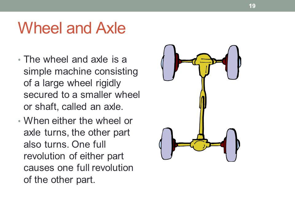 Wheel and Axle The wheel and axle is a simple machine consisting of a large wheel rigidly secured to a smaller wheel or shaft, called an axle. When ei