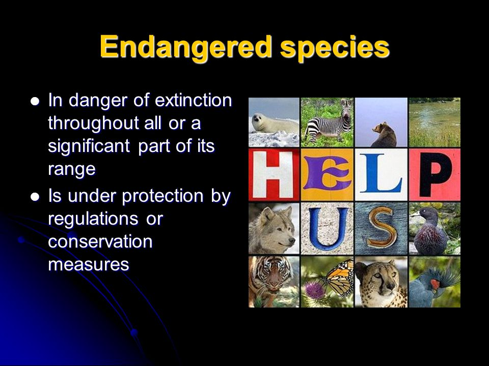 Endangered species In danger of extinction throughout all or a significant part of its range In danger of extinction throughout all or a significant p