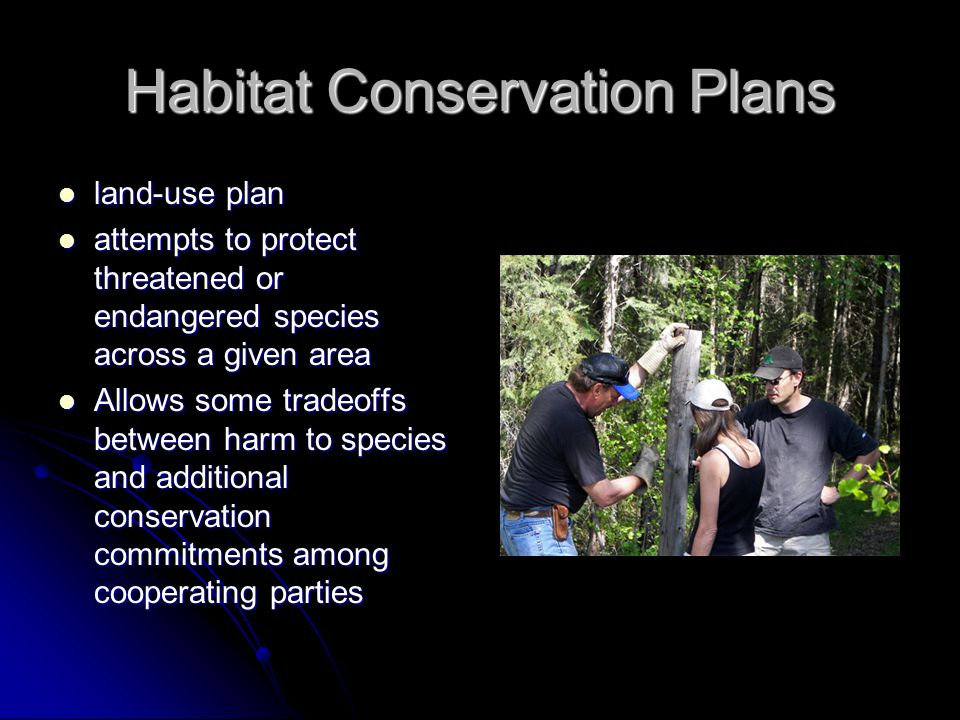 Habitat Conservation Plans land-use plan land-use plan attempts to protect threatened or endangered species across a given area attempts to protect th
