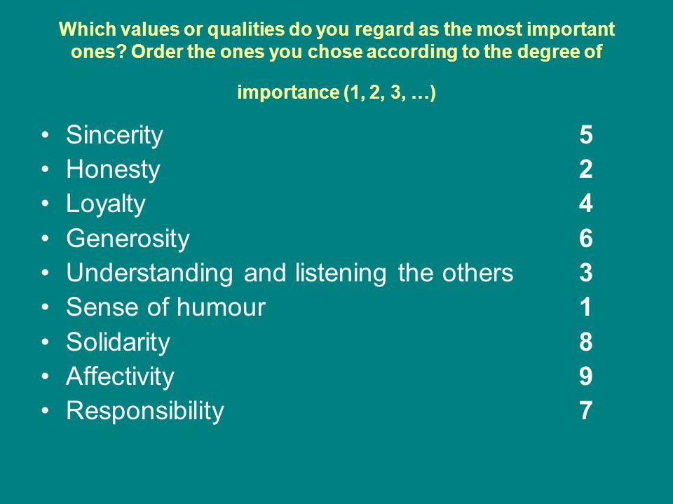 Which values or qualities do you regard as the most important ones.