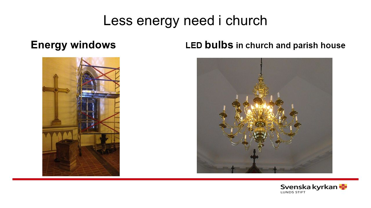 Less energy need i church Energy windows LED bulbs in church and parish house