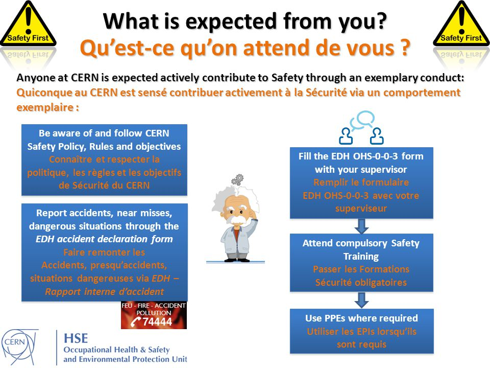 Be aware of and follow CERN Safety Policy, Rules and objectives Connaître et respecter la politique, les règles et les objectifs de Sécurité du CERN Be aware of and follow CERN Safety Policy, Rules and objectives Connaître et respecter la politique, les règles et les objectifs de Sécurité du CERN Attend compulsory Safety Training Passer les Formations Sécurité obligatoires Attend compulsory Safety Training Passer les Formations Sécurité obligatoires Use PPEs where required Utiliser les EPIs lorsqu'ils sont requis Use PPEs where required Utiliser les EPIs lorsqu'ils sont requis What is expected from you.