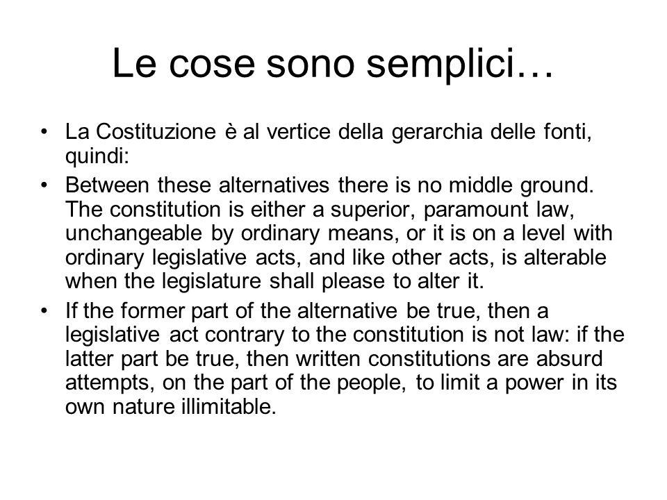 Le cose sono semplici… La Costituzione è al vertice della gerarchia delle fonti, quindi: Between these alternatives there is no middle ground.