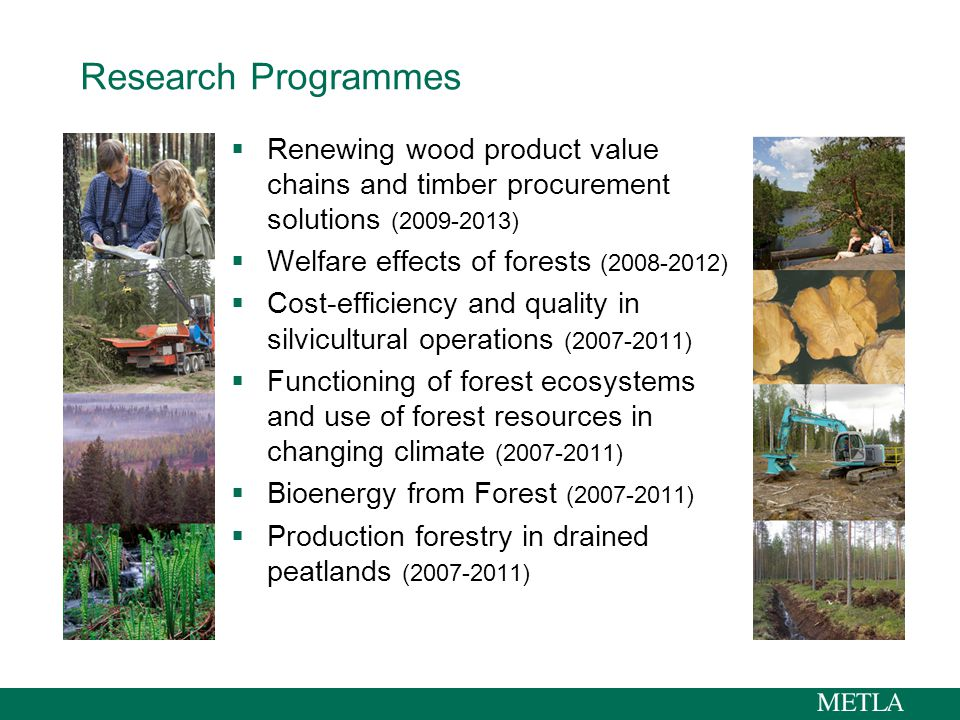 Research Programmes  Renewing wood product value chains and timber procurement solutions (2009-2013)  Welfare effects of forests (2008-2012)  Cost-efficiency and quality in silvicultural operations (2007-2011)  Functioning of forest ecosystems and use of forest resources in changing climate (2007-2011)  Bioenergy from Forest (2007-2011)  Production forestry in drained peatlands (2007-2011)