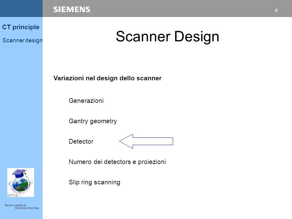 7 CT principle Scanner design CS TC 22 61 cm = 327 mAs 63 CM = 350 mAs 65 CM = 377 mAs Componenti 57 CM = 290 mAs [ (SID 1 )² / (SID 2 )² = 57² / 63² = 0.8]
