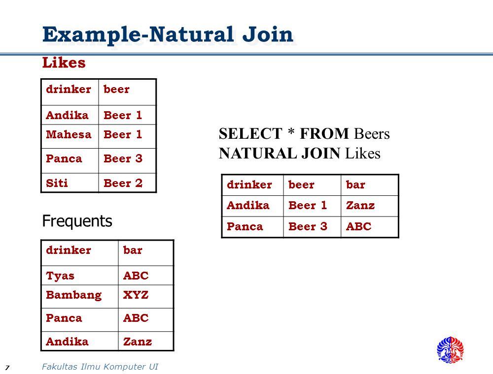 Fakultas Ilmu Komputer UI 7 Example-Natural Join Likes drinkerbeer AndikaBeer 1 MahesaBeer 1 PancaBeer 3 SitiBeer 2 Frequents drinkerbar TyasABC Bamba