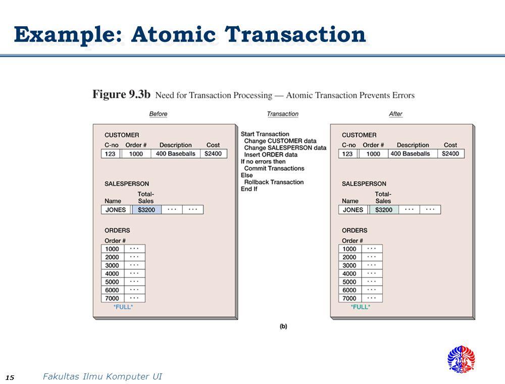 Fakultas Ilmu Komputer UI 15 Example: Atomic Transaction