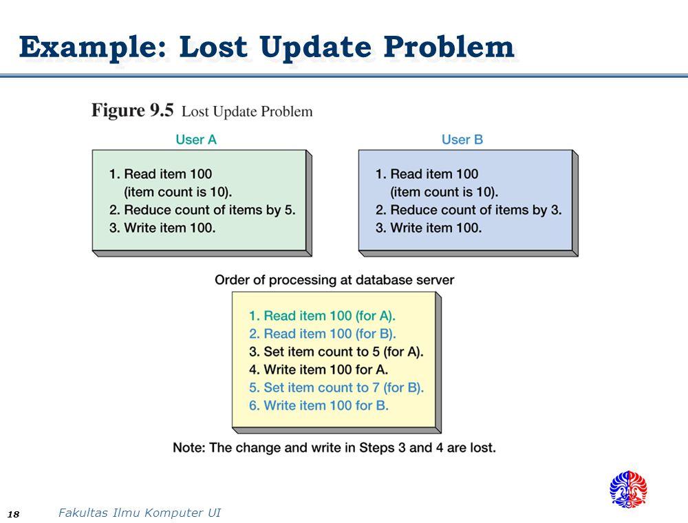 Fakultas Ilmu Komputer UI 18 Example: Lost Update Problem
