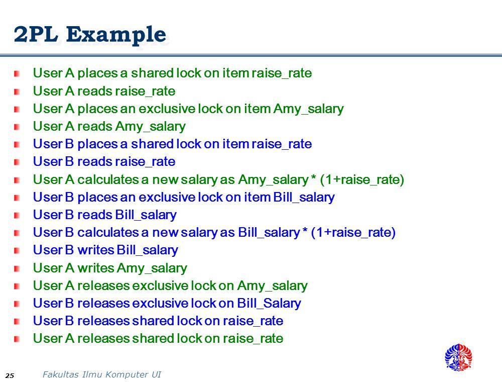 Fakultas Ilmu Komputer UI 25 2PL Example User A places a shared lock on item raise_rate User A reads raise_rate User A places an exclusive lock on ite