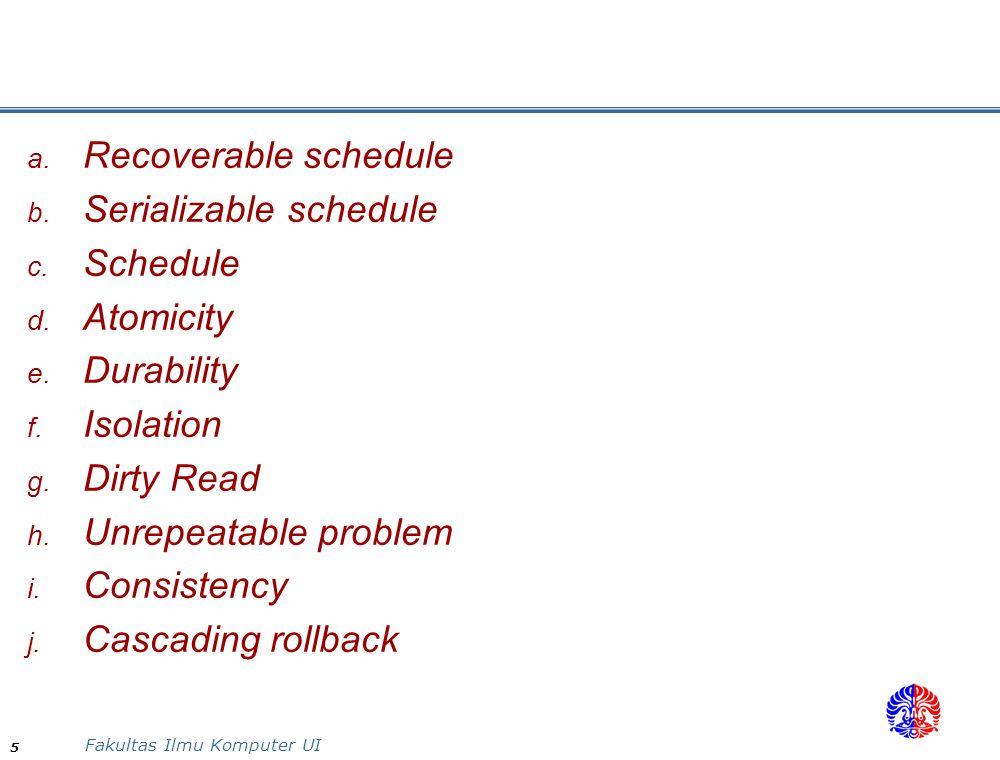 Fakultas Ilmu Komputer UI 5  Recoverable schedule  Serializable schedule  Schedule  Atomicity  Durability  Isolation  Dirty Read  Unre