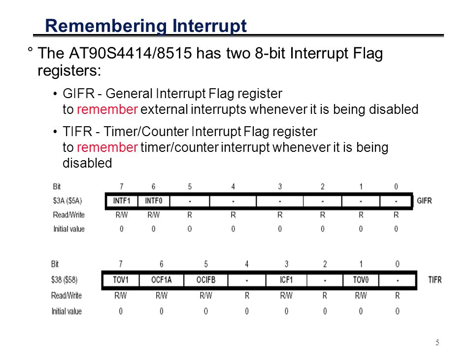 5 Remembering Interrupt °The AT90S4414/8515 has two 8-bit Interrupt Flag registers: GIFR - General Interrupt Flag register to remember external interrupts whenever it is being disabled TIFR - Timer/Counter Interrupt Flag register to remember timer/counter interrupt whenever it is being disabled
