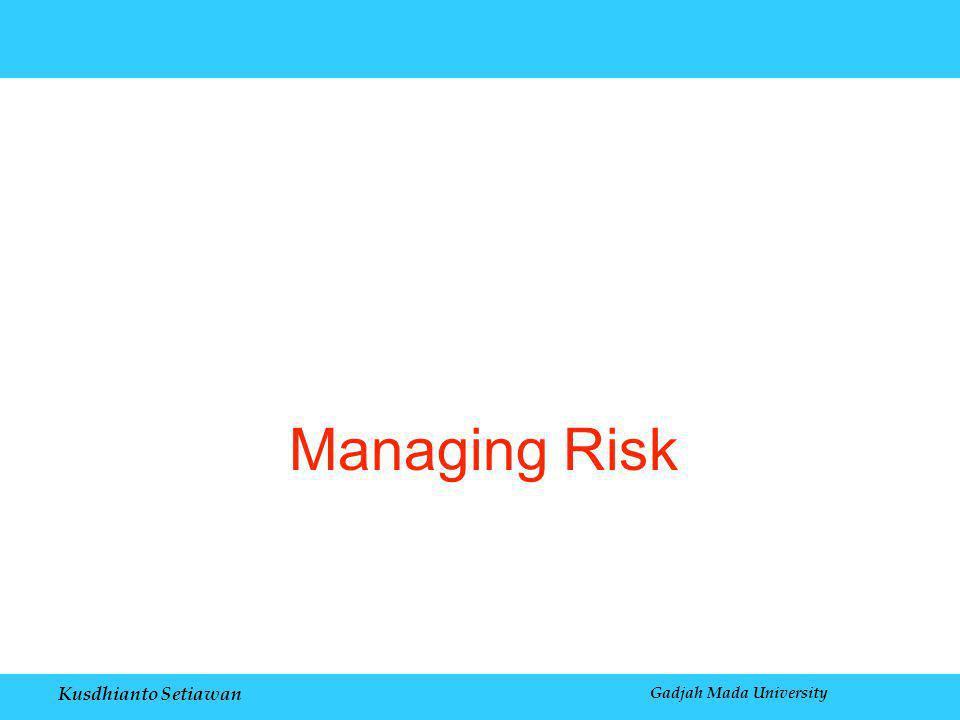 Kusdhianto Setiawan Gadjah Mada University Managing Risk