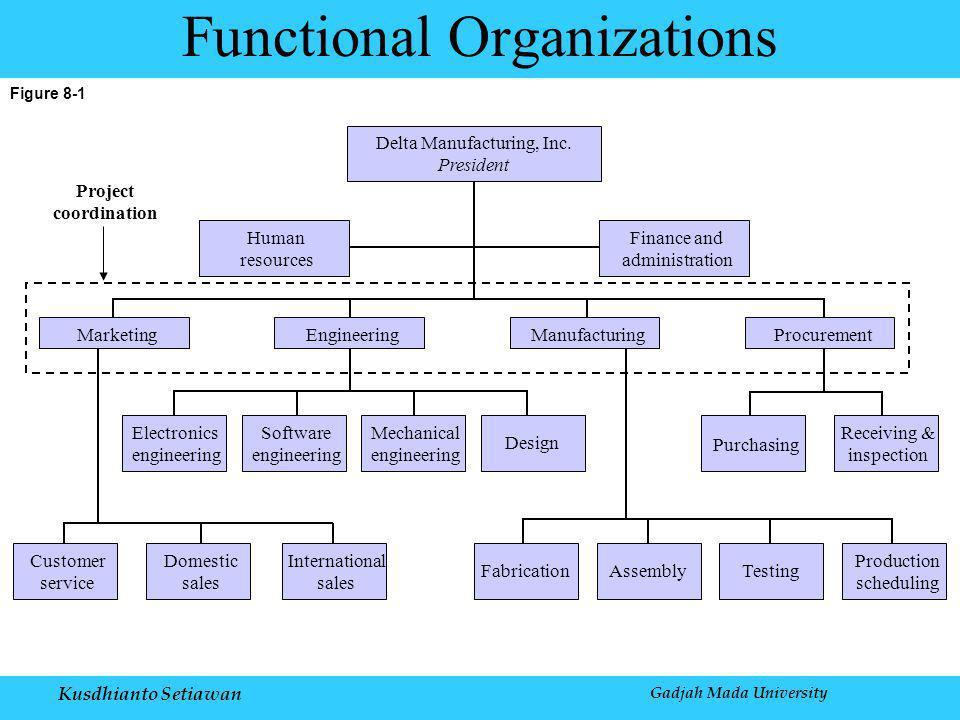 Kusdhianto Setiawan Gadjah Mada University Figure 8-1 Functional Organizations Delta Manufacturing, Inc.