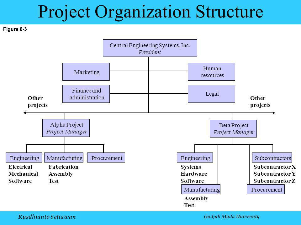 Figure 8-3 Project Organization Structure Central Engineering Systems, Inc.