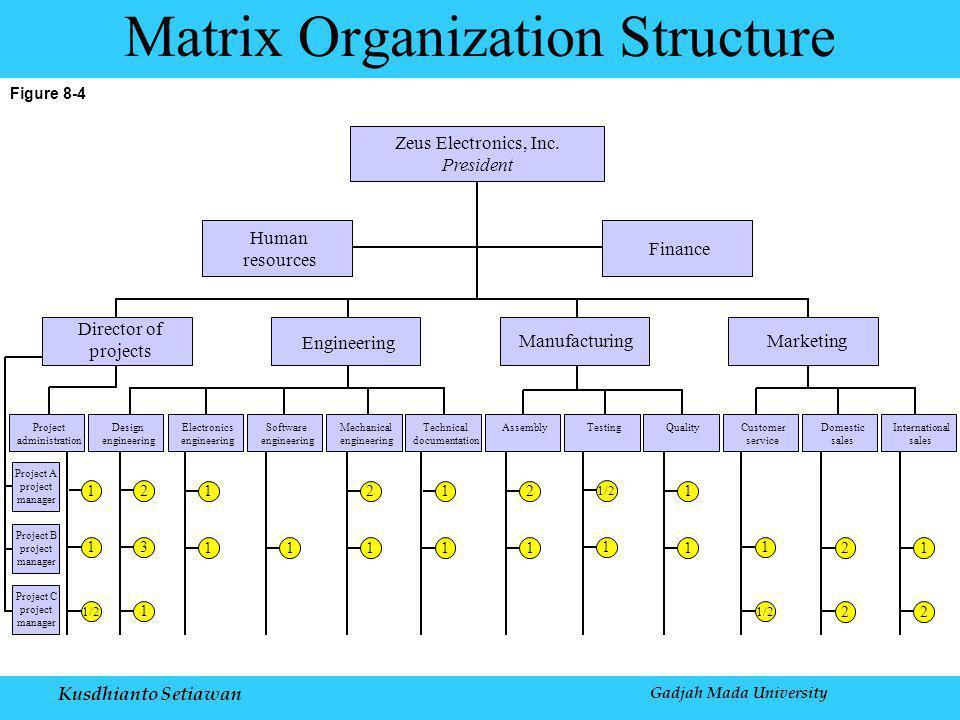 Kusdhianto Setiawan Gadjah Mada University Figure 8-4 Matrix Organization Structure