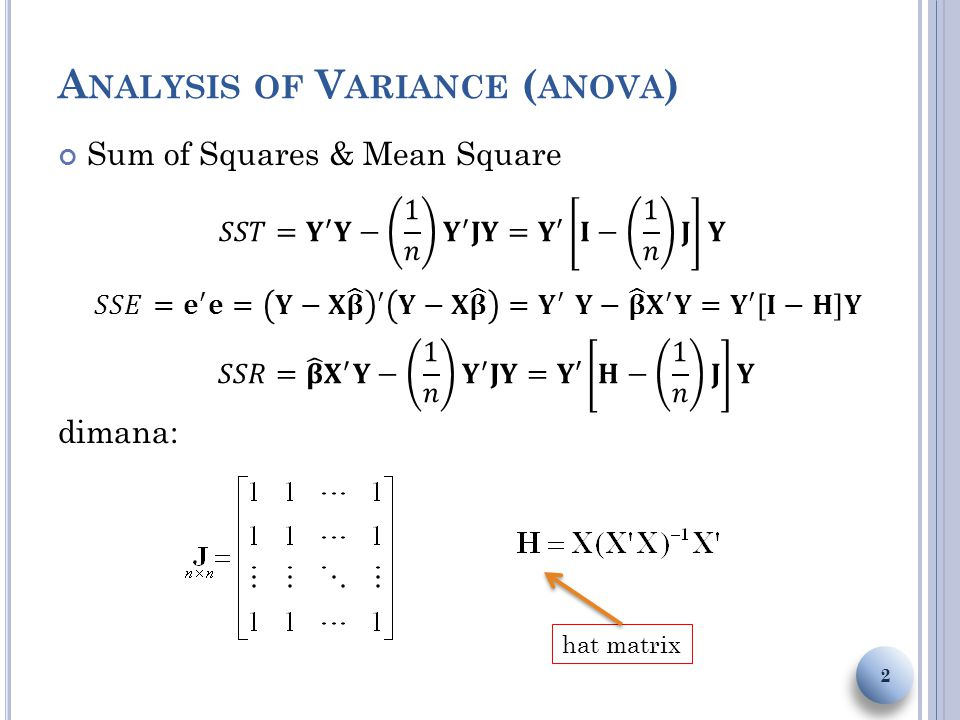 A NALYSIS OF V ARIANCE ( ANOVA ) Sum of Squares & Mean Square dimana: 2 hat matrix