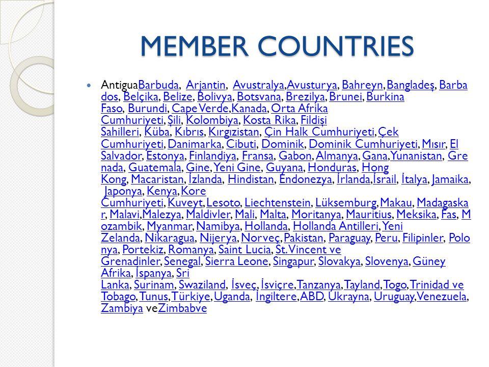 MEMBER COUNTRIES AntiguaBarbuda, Arjantin, Avustralya,Avusturya, Bahreyn, Bangladeş, Barba dos, Belçika, Belize, Bolivya, Botsvana, Brezilya, Brunei,