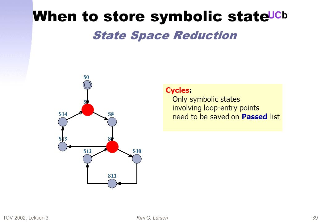 TOV 2002, Lektion 3.Kim G. Larsen UCb 39 When to store symbolic state State Space Reduction Cycles: Only symbolic states involving loop-entry points n