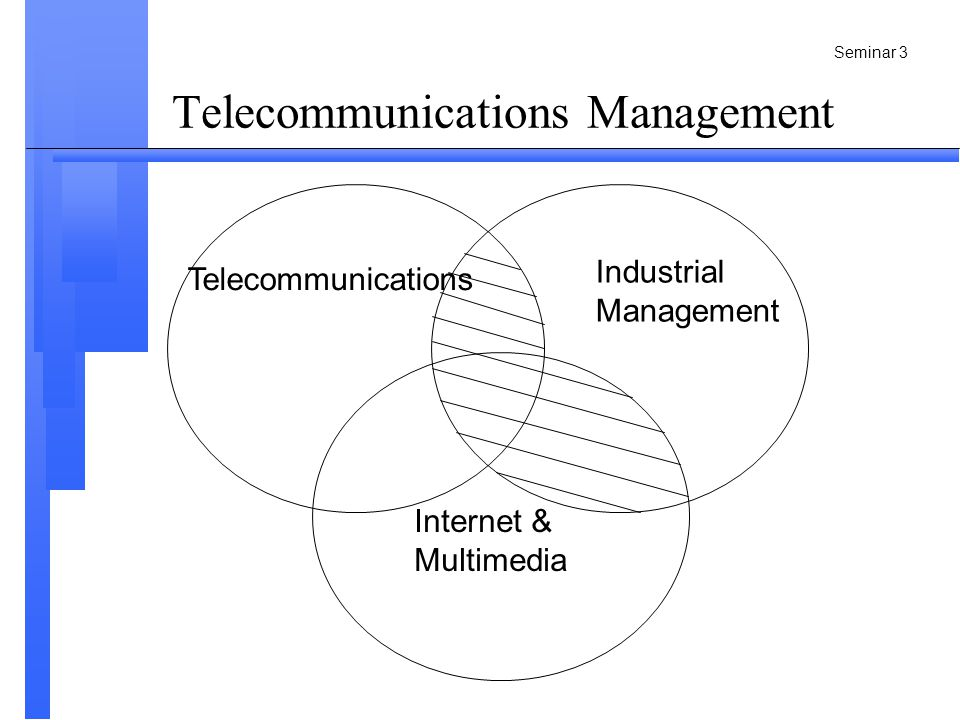 Seminar 4 Telecommunications Management Telecommunications (Application area, research target) Industrial Management (Theory) Internet & Multimedia (Application area, research target)