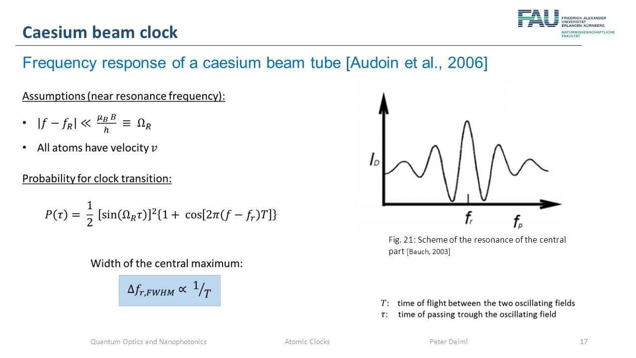 Quantum Optics and Nanophotonics Atomic Clocks Peter Deiml17 Caesium beam clock Frequency response of a caesium beam tube [Audoin et al., 2006] Fig.